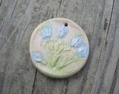 Rustic Art Blue Flower bead pendant, ChristyLDesigns