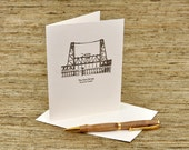 The Steel Bridge, Portland, Oregon - letterpress card