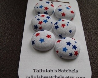 """Wearable Sew On Fabric Covered Buttons - Size 30 or 3/4"""" Red, White and Blue Stars"""