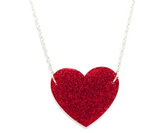 Red Glitter Acrylic Plexiglass Heart Necklace