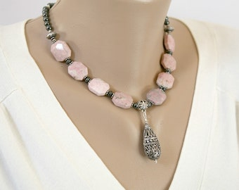 Pastel Pink Peace Jade, Charcoal Gray Hematite and Silver Filigree Teardrop Pendant Necklace