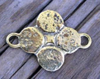 SALE--Roman Replica Brass Quatrefoil Link -25x18mm
