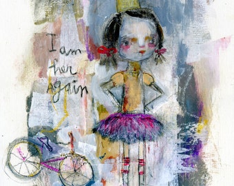 I Am Her Again - mixed media art print by Mindy Lacefield