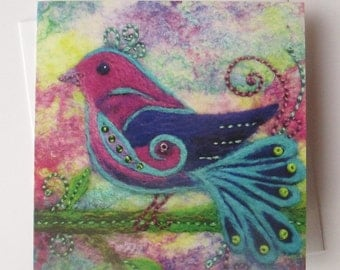 Pretty Bird Printed Greetings Card