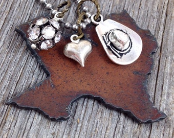 I Love TEXAS Necklace |  Rustic Recycled Metal State Shape Pendant | Cowboy Hat Boot Gun Pickup Truck Heart Charms
