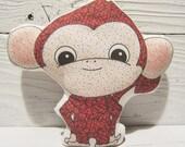 Monkey Plush Pillow, Baby Safe Toy or Nursery Room Decor