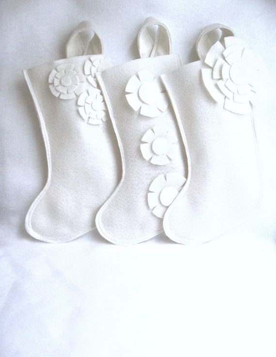 Items similar to modern white christmas stockings in eco friendly felt