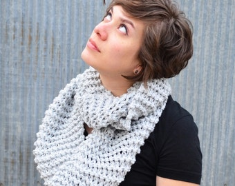 Large Knitted Circular Scarf | cowl | light gray | oversized | warm | knit |trishafern | handmade | soft