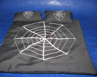 Dollhouse miniature Halloween Spider comforter and pillows