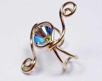 Galaxy Style Ear Cuff 14k Gold Filled and Swarovski Black Diamond Crystal 2 times Aurora Borealis cartilage ear jewelry