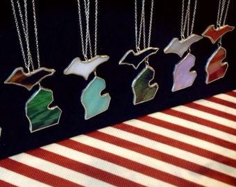 Complete MICHIGAN Set MI and U.P. Necklaces Glass Action