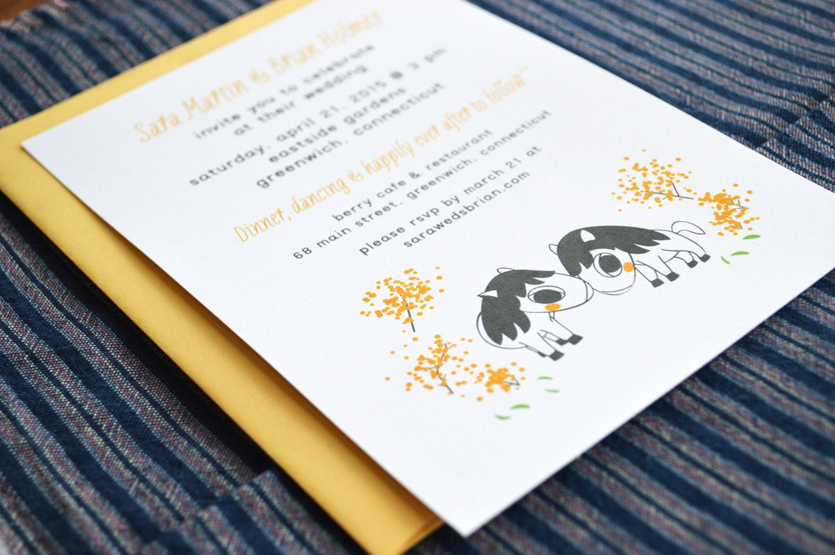 Wedding Invitations Recycled Paper: Horses Wedding Invitations