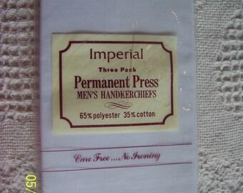 Vintage 3 Men's plain white handkerchiefs by Imperial in original package 1970's