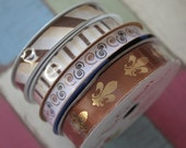4 Piece Lot of Decorative Spool Ribbon - Browns Tan & Gold
