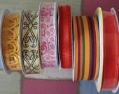 HUGE 8 Piece Lot of Decorative Spool Ribbon - Sunny Yellow & Orange