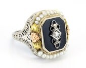 Antique Art Deco Onyx Diamond Seed Pearl Filigree Ring 14K Jewelry 1920s