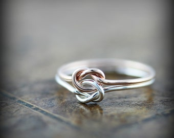 Double knot ring - silver and yellow or rose gold filled ring, best friends or promise ring