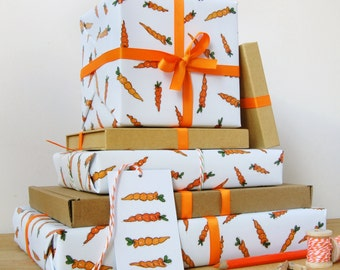 Babys first christmas wrapping paper set new baby carrot wrapping paper set gift wrap quirky eco friendly paper carrot print negle