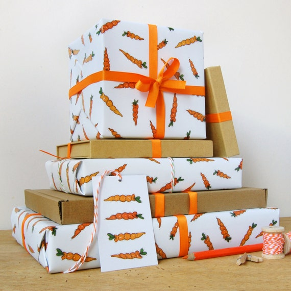 Carrot wrapping paper set gift wrap quirky eco friendly like this item negle Gallery