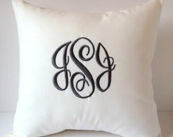 Monogram Pillow Cover. 18 x 18 Home Accent. Decorative Throw Pillow. Dorm Decor. Nursery Decor. Wedding Gift. Housewarming. Farmhouse Decor