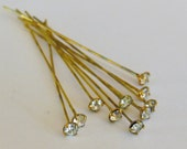 Vintage Swarovski headpins (10) crystal 3.5mm x 38mm gold plated earring wire bendable pliable findings(10)