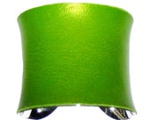 Leather Cuff Bracelet in Pearlized Lime Green - by UNEARTHED
