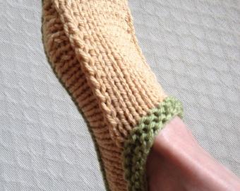 KNIT SLIPPERS/Ladies Knit Slippers-Cottage Slippers-Country Slippers Non slip sole-Womens Knit Sockette-Handknit Scuffs- Medium size.