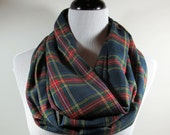 Navy blue n Red Tartan plaid brushed cotton flannel infinity circle scarf- women autumn fall winter cowl neck shawl cotton fashion gifts