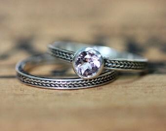 Silver morganite wedding ring set - braid wedding band - wheat band ring - pale pink morganite - handmade - custom made to order