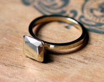 14k yellow gold engagement ring - modern - faceted metal gem - diamond alternative - Modern Rock Asscher - square cut - made to order