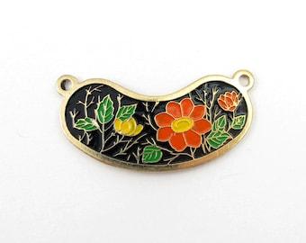 Vintage Orange and Yellow Flowers on Black Cloisonne Enamel Pendants (4X) (E515) SALE - 50% off