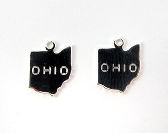 Engraved Tiny Silver Plated on Raw Brass Ohio State Charms (2X) (A434-B)