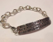 She Loved the Little Boy Very Much stamped metal bracelet - silver - chain