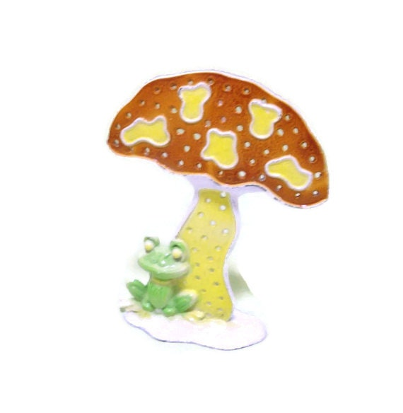 Vintage Mushroom and Frog Metal Earring Holder