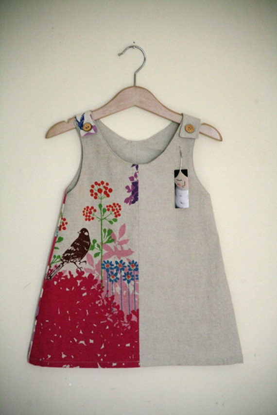 Linen Panel Dress - Pink Bird 2/3yrs