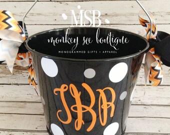 Custom Monogram Halloween Candy Bucket
