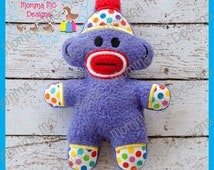 Sock Monkey Softie Machine Embroidery File