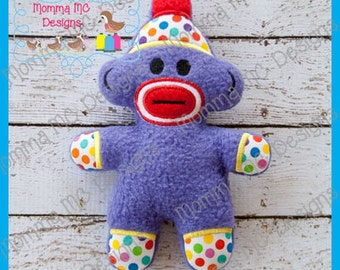 Sock Monkey Softie Machine Embroidery File