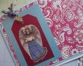 Handmade Angel Floral Notecard -  To Benefit Heart Strings
