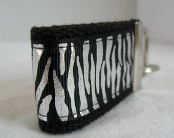 Shiny Zebra Small Key Fob - BLACK Silver - Animal Print Key Chain - Small Zebra Key Ring - Zebra Luggage Identifier