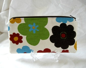 Flower Zippered Pouch - Bold Floral - Small Make Up Bag - Brown Turquoise Lime - Floral Zipper Pouch