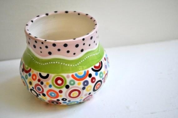 Colorful Pottery Bud Vase- Whimsical Circles  small crock / bud vase /cache pot