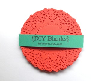 """4.5"""" Paper Doilies Doily Red Papaya fancy Lace Qty 25 great for stamping"""