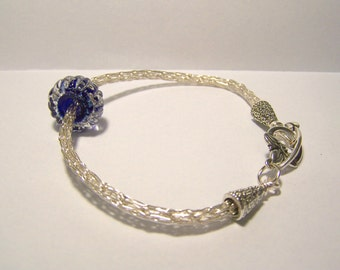 Silver Viking Knit woven chain bracelet with free floating textured glass bead