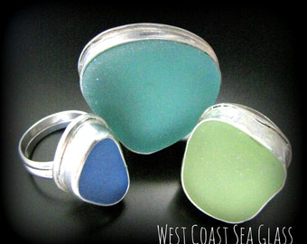 Sea Glass Ring - You pick your color, size of seaglass and size of ring, Sea Glass Jewelry - Bezel Set in Sterling Silver, Beach Glass