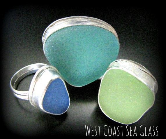 Sea Glass Ring - Your Size, Your Color Preference, Seaglass Jewelry - Bezel Set in Sterling Silver