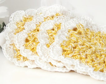 Crochet Coasters, Yellow & White, Candle Pad Doily, Home Decor, Cottage Chic, Set of 4 Mug Rugs