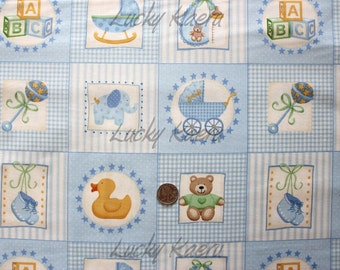 SALE Makower UK Baby, Baby Boy Labels Blue Fabric - By the Panel