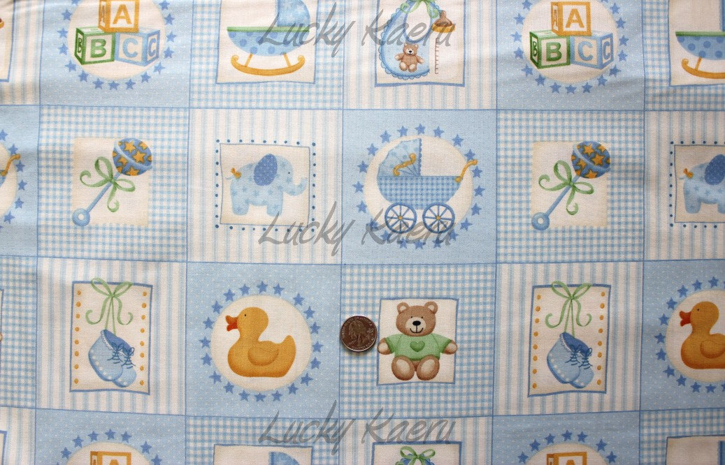 Sale makower uk baby baby boy labels blue fabric by the for Baby fabric uk