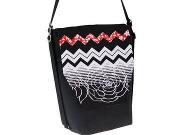 Backpack Convertible Bag - Shoulder Bag - Cross Body Purse - iPad Purse -3 in 1 bag- REMOVABLE FLAP - Borsa Bella - Chevron Elegance Fabric